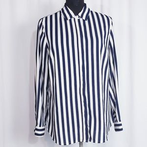 BLUE & WHITE STRIPED COLDWATER CREEK SHIRT